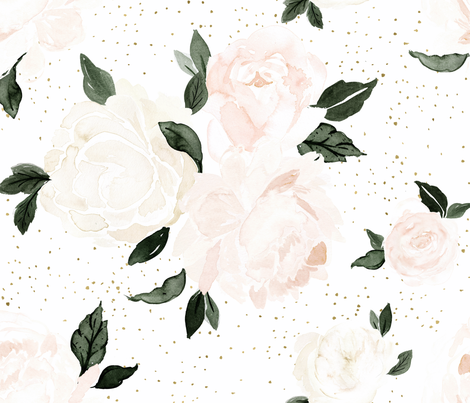 vintage blush floral white fabric by crystal_walen on Spoonflower - custom fabric