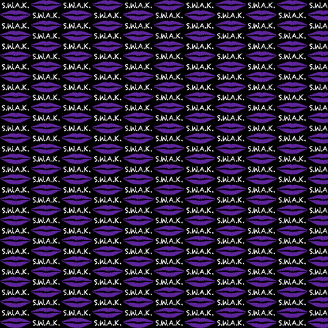 .75 Inch White S.W.A.K. with Purple Lips on Black fabric by mtothefifthpower on Spoonflower - custom fabric