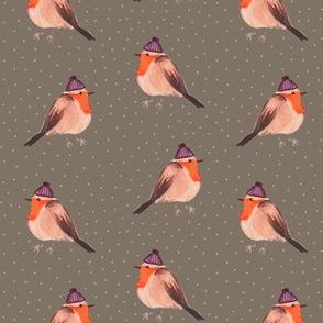 Fall Robins on Grey