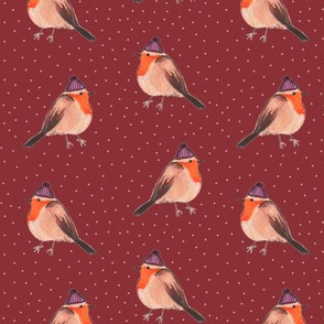 Fall Robins on Red