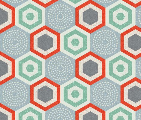 hexagon 4b-mid century modern fabric by ottomanbrim on Spoonflower - custom fabric
