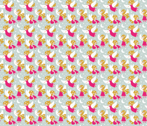 Angels in the sky pink (small) fabric by heleen_vd_thillart on Spoonflower - custom fabric