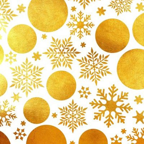 Golden magical snowflakes // white background gold texture