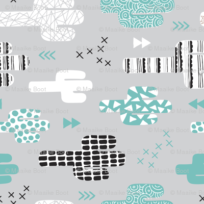 Cool western geometric cactus garden with triangles and arrows gender neutral pastel blue black and white flipped