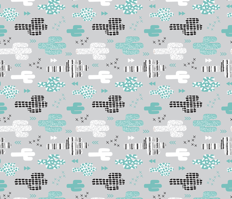 Cool western geometric cactus garden with triangles and arrows gender neutral pastel blue black and white flipped fabric by littlesmilemakers on Spoonflower - custom fabric