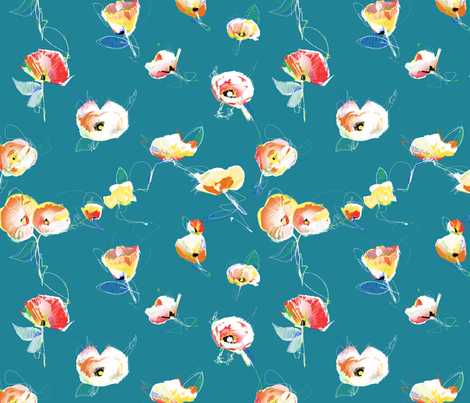 Painted Small Flowers 2 fabric by kyro on Spoonflower - custom fabric