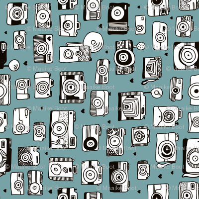 Vintage camera memories cool retro toy camera photography design gender neutral blue XS Rotated