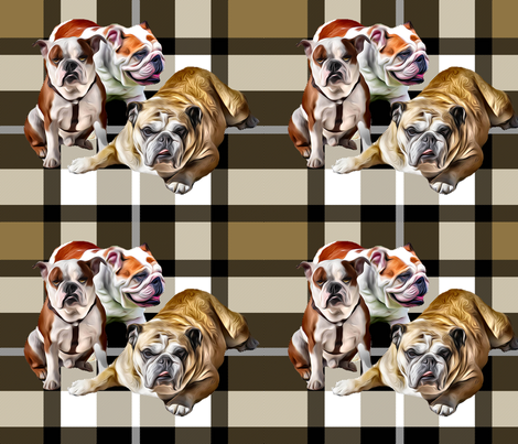 Plaid Background Bulldog Family fabric by dogdaze_ on Spoonflower - custom fabric