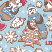 Penguin Christmas gingerbread biscuits IV // blue background white red & blue biscuits