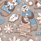 Penguin Christmas gingerbread biscuits V // brown silk background white & blue biscuits