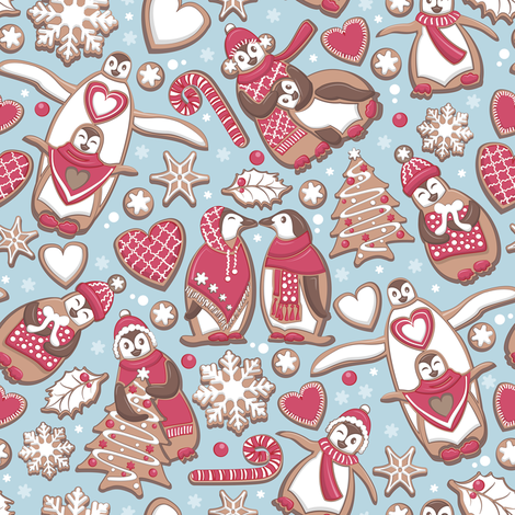 Penguin Christmas gingerbread biscuits VI // small scale // blue background white & red biscuits fabric by selmacardoso on Spoonflower - custom fabric