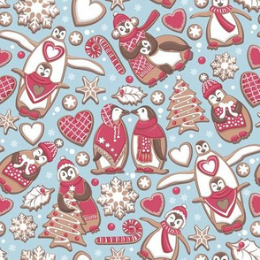 Penguin Christmas gingerbread biscuits VI // small scale // blue background white & red biscuits