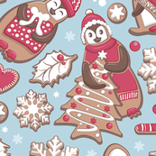 Penguin Christmas gingerbread biscuits VI // blue background white & red biscuits