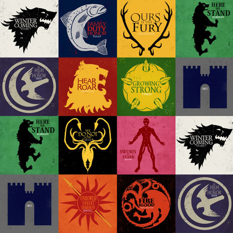GoT House Sigils // Large fabric by thinlinetextiles on Spoonflower - custom fabric