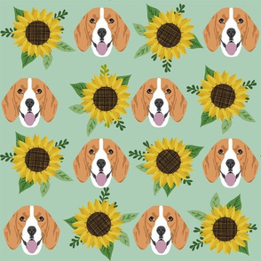beagle sunflower (larger) fabric floral dogs design sunflowers fabric - mint