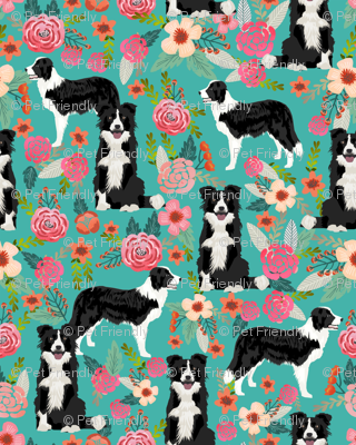 border collie florals (smaller) fabric cute border collie design best border collies fabrics cute border collies designs