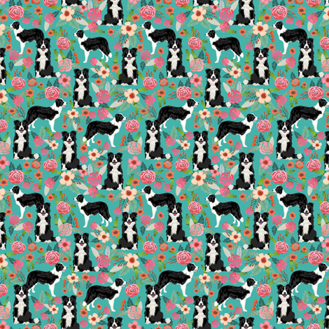 border collie florals (smaller) fabric cute border collie design best border collies fabrics cute border collies designs fabric by petfriendly on Spoonflower - custom fabric
