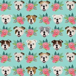 english bulldog faces (smaller) cute florals flowers english bulldog fabrics cute florals mint and pink english bulldog fabric