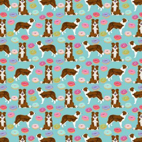 border collie (smaller) dog fabric dogs and donuts design red and white border collies fabric by petfriendly on Spoonflower - custom fabric