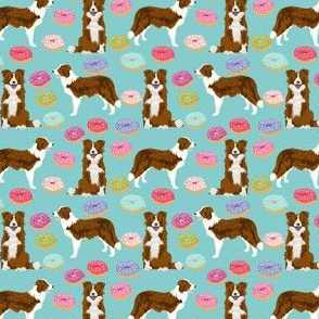 border collie (smaller) dog fabric dogs and donuts design red and white border collies