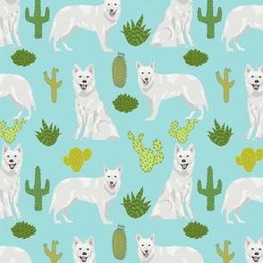 white shepherd cactus (medium size) desert southwest dog breed fabric light blue