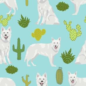 white shepherd cactus (larger size) desert southwest dog breed fabric light blue