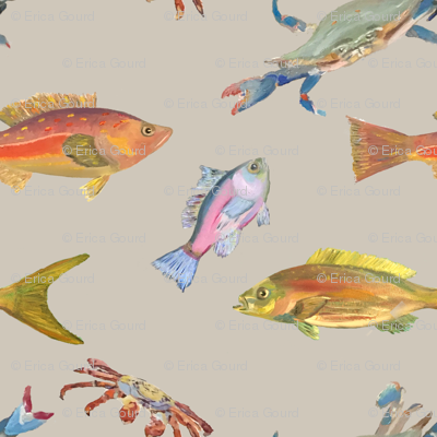 Heather's fish_Tshirt fabric