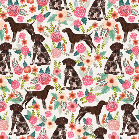 German Shorthair Pointer floral dog breed fabric cream fabric by petfriendly on Spoonflower - custom fabric
