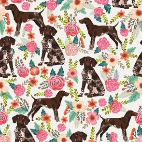 German Shorthair Pointer floral dog breed fabric cream