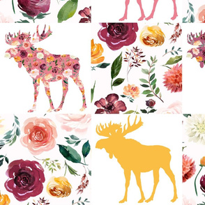 """Whole cloth Floral Moose Cheater Quilt 8"""""""