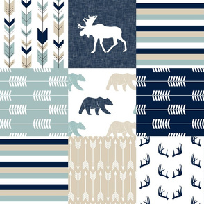 bear and moose patchwork - navy, dusty blue, tan