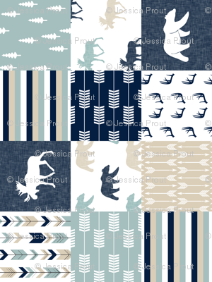 bear and moose patchwork - navy, dusty blue, tan (90)