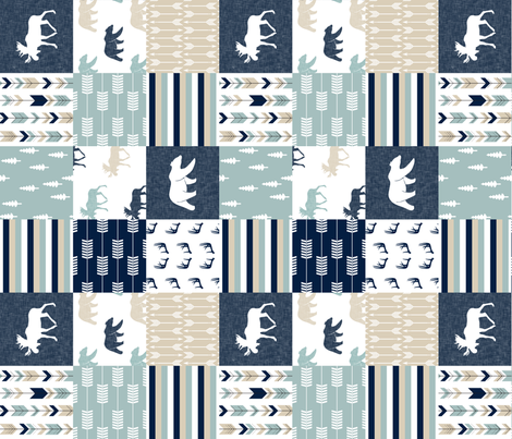 bear and moose patchwork - navy, dusty blue, tan (90) fabric by littlearrowdesign on Spoonflower - custom fabric
