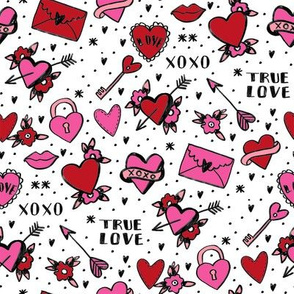 retro tattoos // hearts tattoos stickers love valentines day white red
