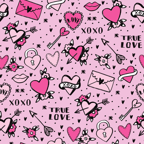 retro tattoos // hearts tattoos stickers love valentines day pink fabric by andrea_lauren on Spoonflower - custom fabric