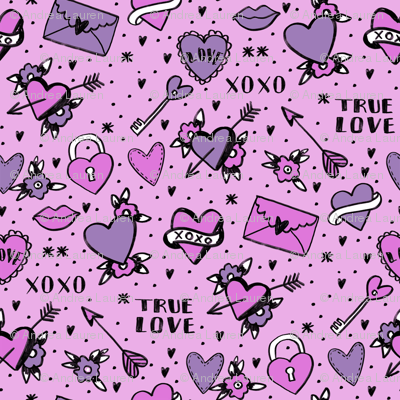retro tattoos // hearts tattoos stickers love valentines day purple