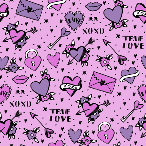 retro tattoos // hearts tattoos stickers love valentines day purple fabric by andrea_lauren on Spoonflower - custom fabric