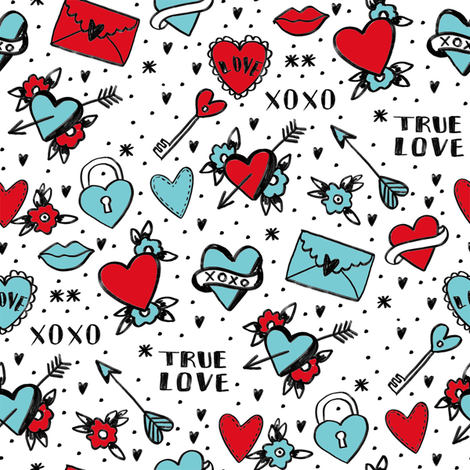retro tattoos // hearts tattoos stickers love valentines day white red fabric by andrea_lauren on Spoonflower - custom fabric