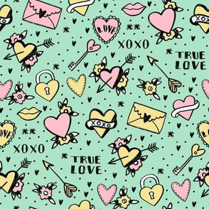 retro tattoos // hearts tattoos stickers love valentines day mint