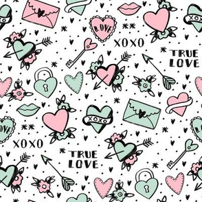 retro tattoos // hearts tattoos stickers love valentines day  white pink
