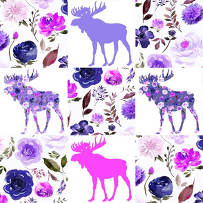 """Whole cloth Floral Moose Cheater Quilt 6"""" Purple"""