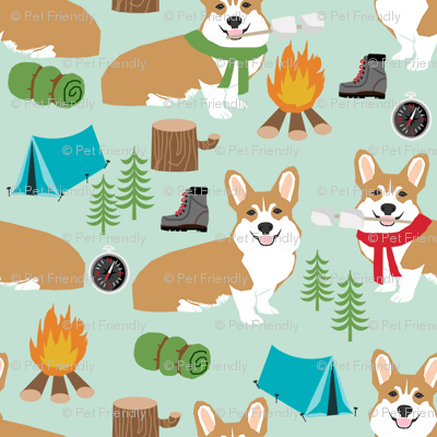 corgi camping campfire marshmallow roasting dog breed fabric mint