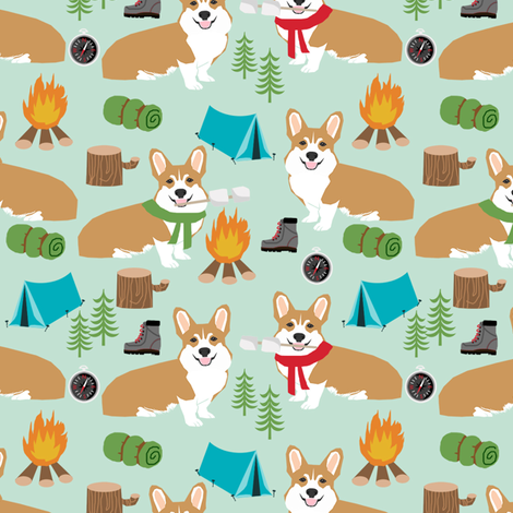 corgi camping campfire marshmallow roasting dog breed fabric mint fabric by petfriendly on Spoonflower - custom fabric