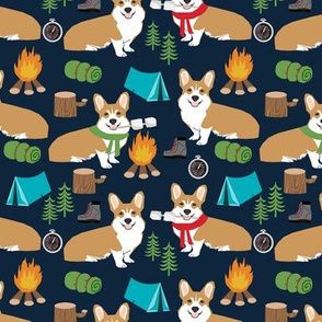 corgi camping campfire marshmallow roasting dog breed fabric black
