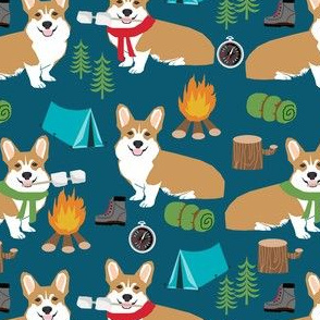 corgi camping campfire marshmallow roasting dog breed fabric navy