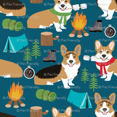 corgi camping with aspen campfire marshmallow roasting dog breed fabric navy