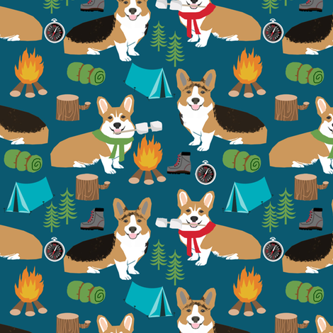 corgi camping with aspen campfire marshmallow roasting dog breed fabric navy fabric by petfriendly on Spoonflower - custom fabric