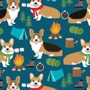 corgi camping with aspen campfire marshmallow roasting dog breed fabric navy