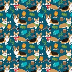 corgi camping (smaller) with aspen campfire dog fabric navy