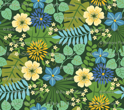 Tropical Yellow and Blue Flowers Dark Green